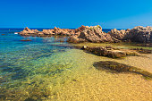 Landscape of Tropical beach. Spanish lagoon. Lloret de Mar - beach of Santa Cristina