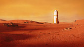 beautiful martian landscape with spaceship