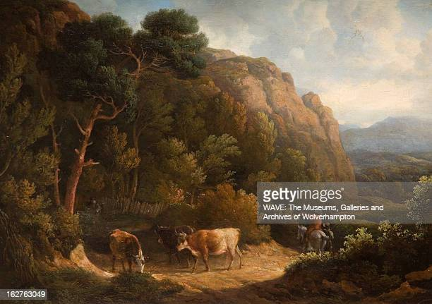 Landscape painting showing three cattle in a clearing in green wooded area with mountains in the background There is a man mounted on a white horse...