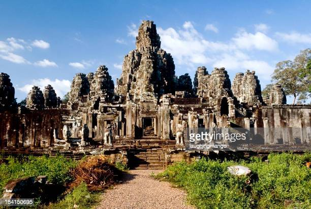 Landscape photo of Bayon Temple in Cambodia on a sunny day