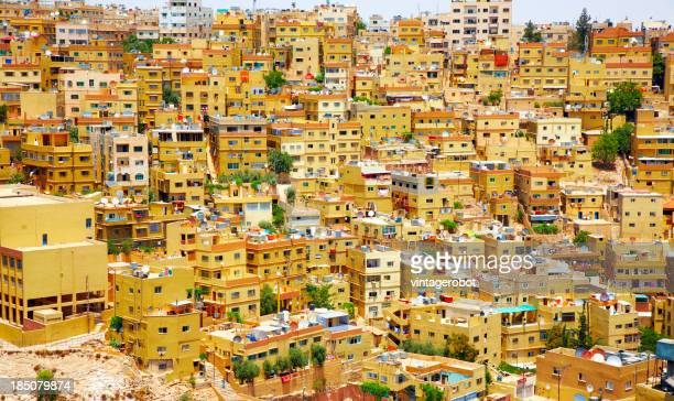 Landscape photo of bunched up houses in Amman, Jordan
