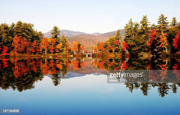 Landscape portrait of a reflecting lake in New Hampshire