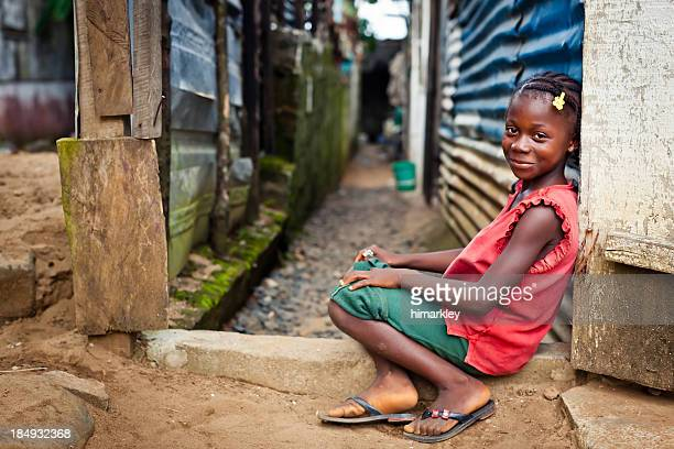 Landscape portrait of a smiling African girl