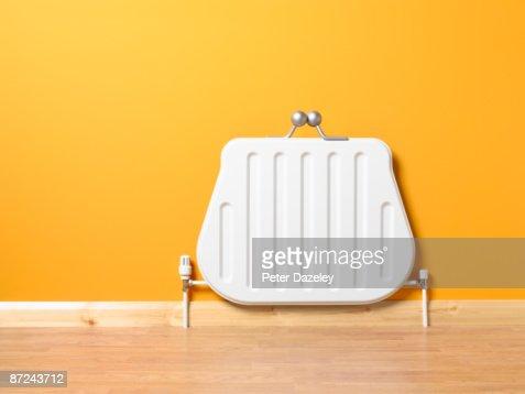 Landscape purse shaped radiator.