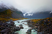 A landscape shot of water flowing from melting glacier which formed a river.