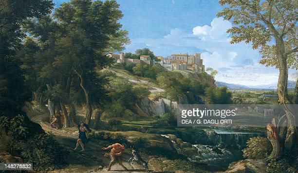 Landscape showing a dancing faun and nymph 1667 1668 by Gaspard Dughet Florence Palazzo Pitti Galleria Palatina