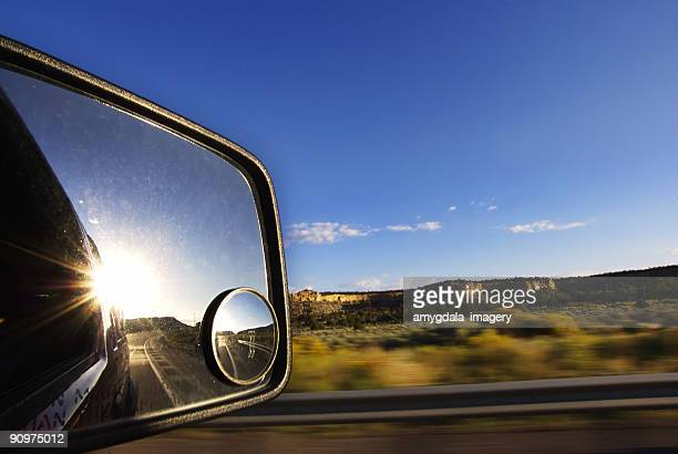 landscape sunset rearview mirror road trip