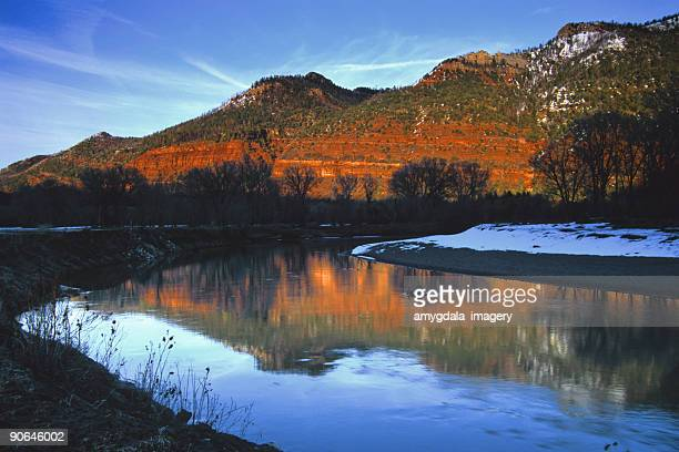 landscape sunset river mountain reflection