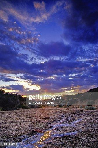 landscape sunset sky stream reflection