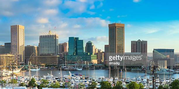 A landscape view of Baltimore Inner Harbour