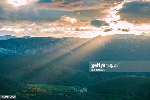 landscape view of  Campo Imperatore plateau abruzzo italy europe