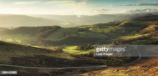 Landscape view of Hope Valley in Peak District during autumn sunset