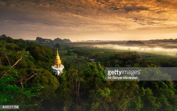 Landscape view of Khao Na Nai Luang temple on peak mountain
