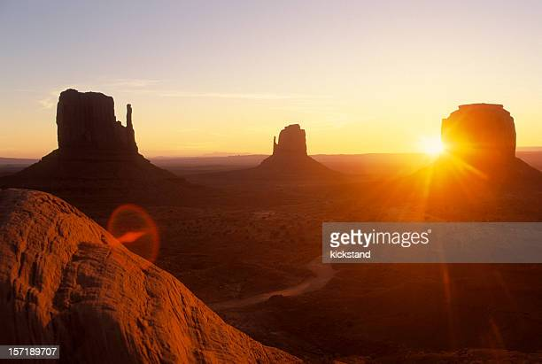 Landscape view of Monument Valley at sunset