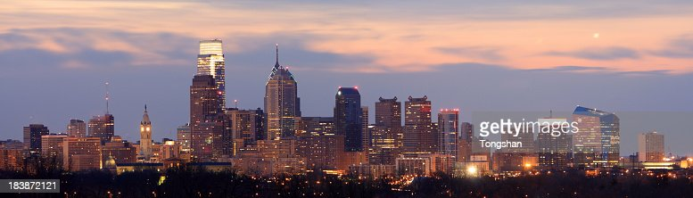 Landscape view of Philadelphia at dawn