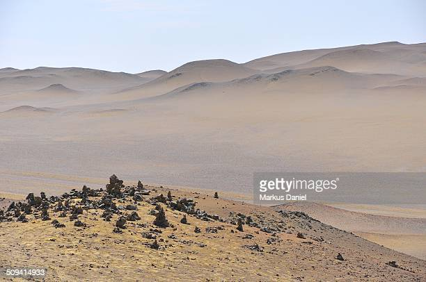 Landscape view of red sands Paracas Desert, Peru