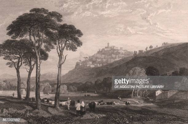 Landscape view with the city of Trevi in the background Umbria Italy steel engraving after a drawing by James Duffield Harding ca 146x97 cm published...