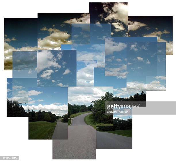 Landscape w/ road, blue sky and clouds