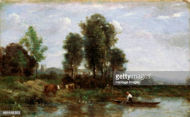 Landscape with a River' 19th century Corot JeanBaptiste Camille Found in the collection of the Far Eastern Art Museum Khabarovsk