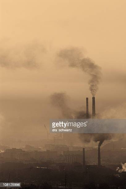 Landscape with carbon emissions and industrial pollution
