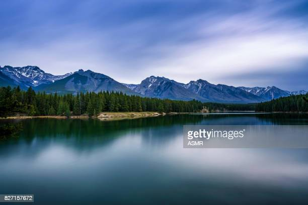 Landscape with clear mountain lake