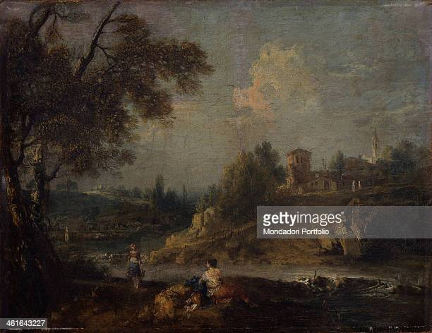 Landscape with Cottage and a Tower by Francesco Zuccarelli 1760 1770 18th Century oil on canvas Italy Lombardy Milan Castello Sforzesco Civic...