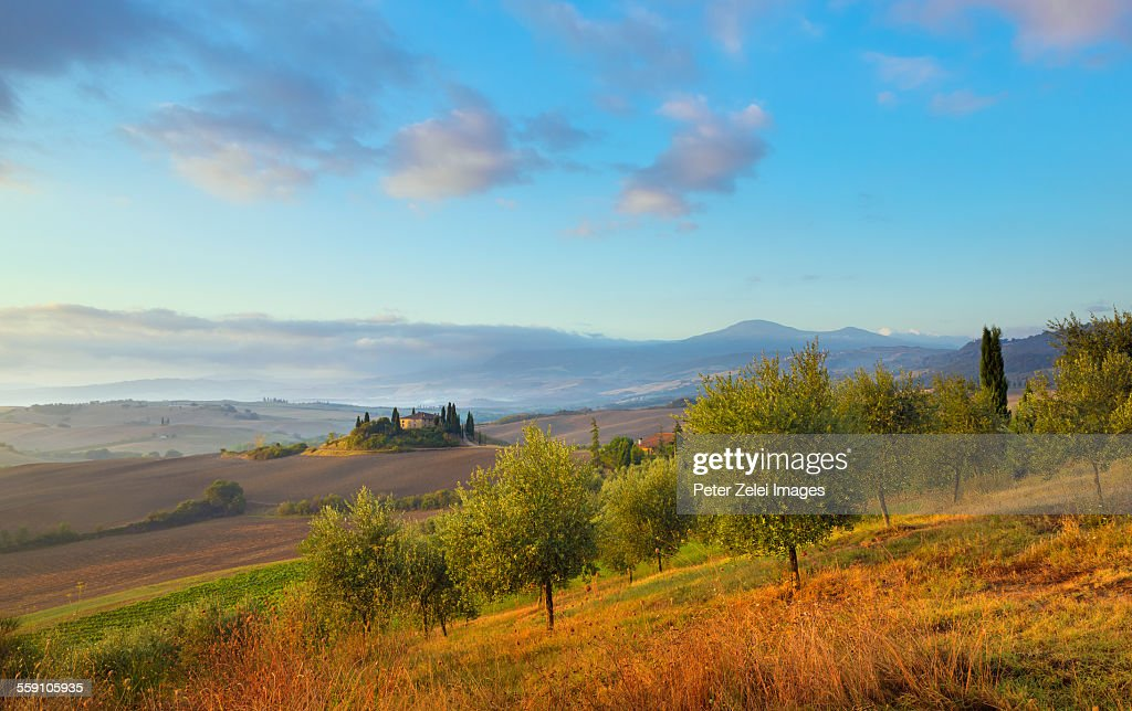 Landscape with farm house in Tuscany