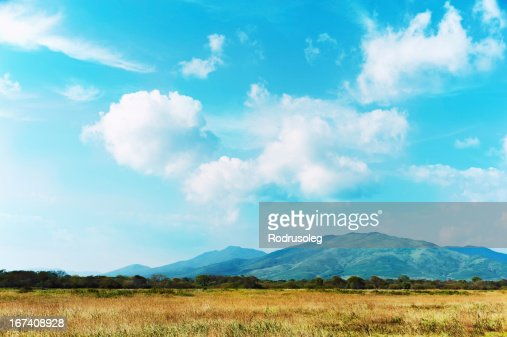 Landscape with mountain views, blue sky and beautiful clouds. : Stock Photo