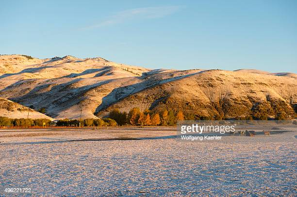 Landscape with mountains after a snow fall in Kharakhorum Mongolia
