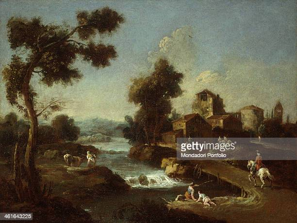 Landscape with Road Cottages and Man Riding by Giuseppe Zais 1760 1770 18th Century oil on canvas Italy Lombardy Milan Castello Sforzesco Civic...