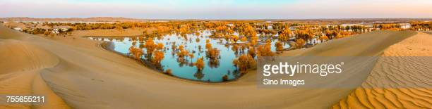 Landscape with sand dunes and lake, Xinjiang Province, China