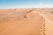 Landscape with sand dunes, Sossusvlei, Namib Desert, Namib-Naukluft National Park, Namibia
