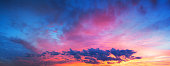 beautiful landscape with sky, clouds and sunrise a panoramic view. panorama sunset