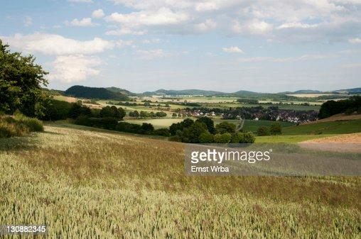 Landscape with village, Solling-Vogler Nature Park, Weserbergland, Lower Saxony, Germany, Europe