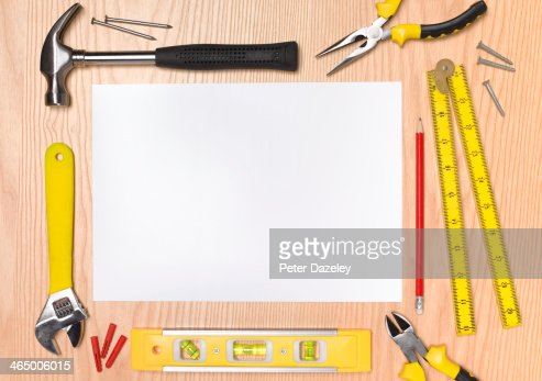 Landscape work tools with copy space