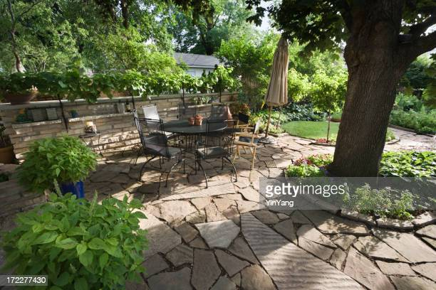 Landscaped Back Yard Patio and Flower Garden with Stone Paving