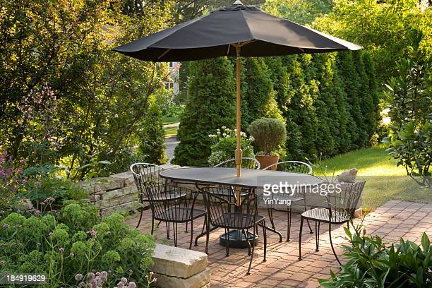 Landscaped Back Yard Patio Garden with Outdoor Furniture, Brick Paving
