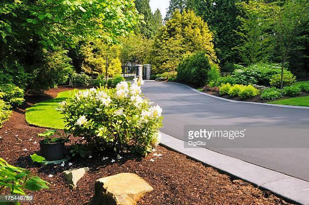 Landschaftlich gestaltete Auffahrt