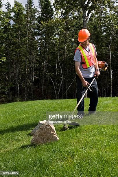 Landscaper Mows Trims Grass Wearing Safety Equipment