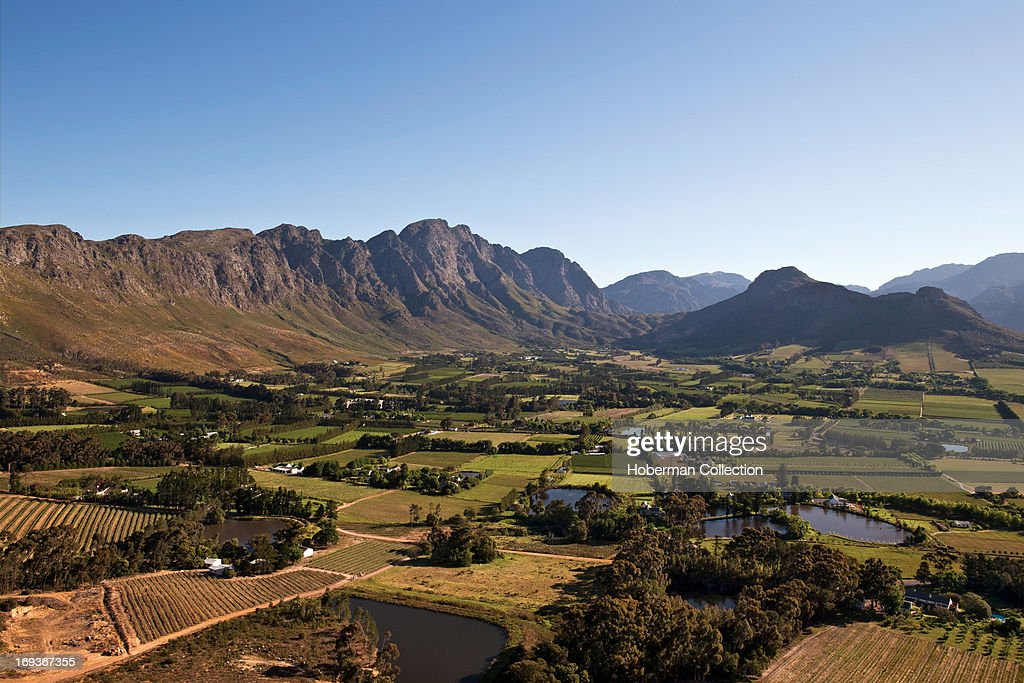 Landscapes of cape winelands and vinyards in the western cape