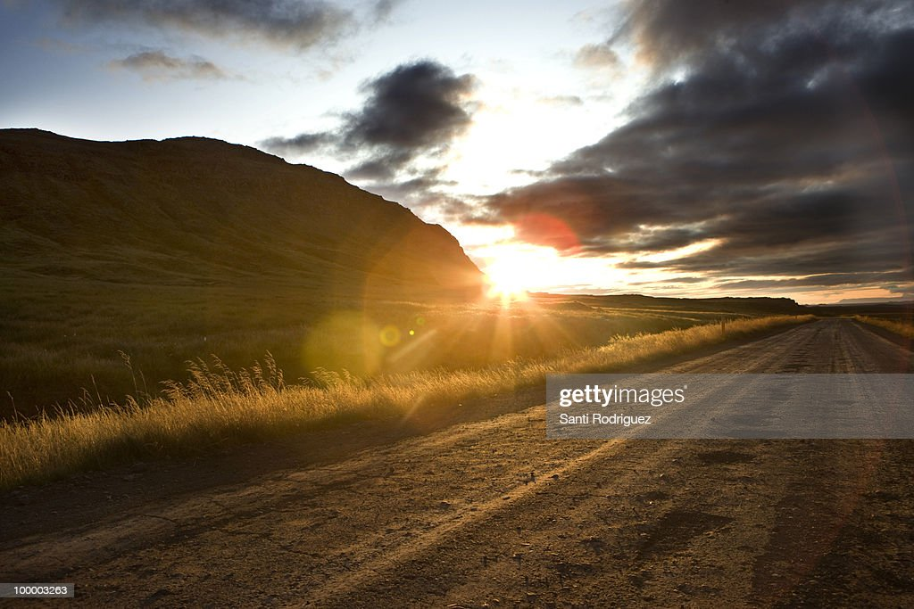 Landscapes of iceland with sunset : Bildbanksbilder