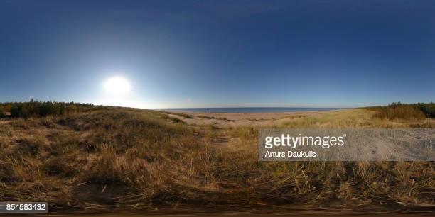 360 VR Landscapes of the Baltic sea coast line in Gulf of Riga