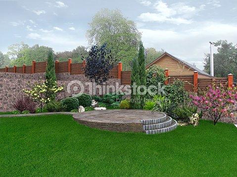 Am nagement paysager dans le jardin en arri replan rendu for Le jardin 3d