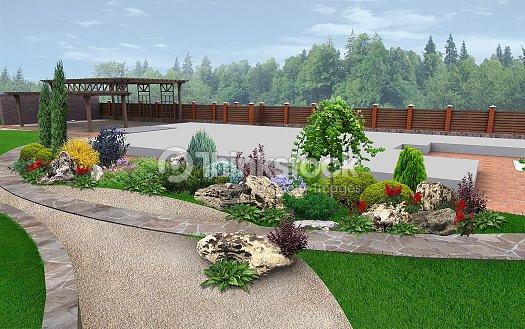 D coration de jardin paysager par exemple rendu 3d photo - Exemple de decoration de jardin ...