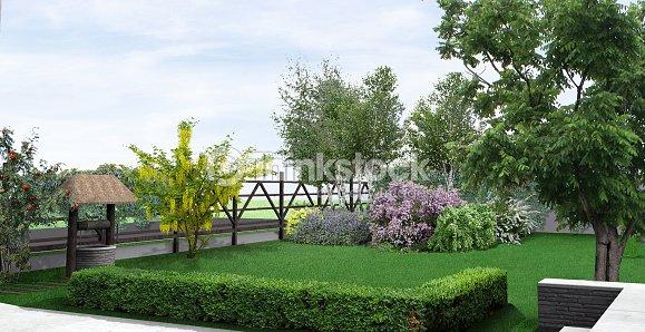 Paesaggio stile rustico giardino render 3d foto stock for Giardino 3d
