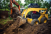 Landscaping works with bulldozer and excavator at home construction site