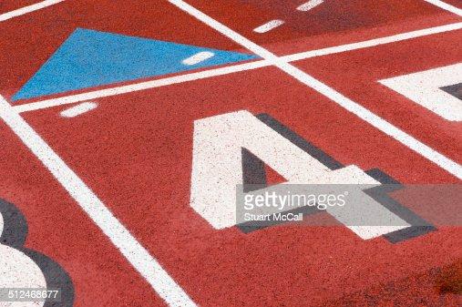 Lane 4 at start line of sports track