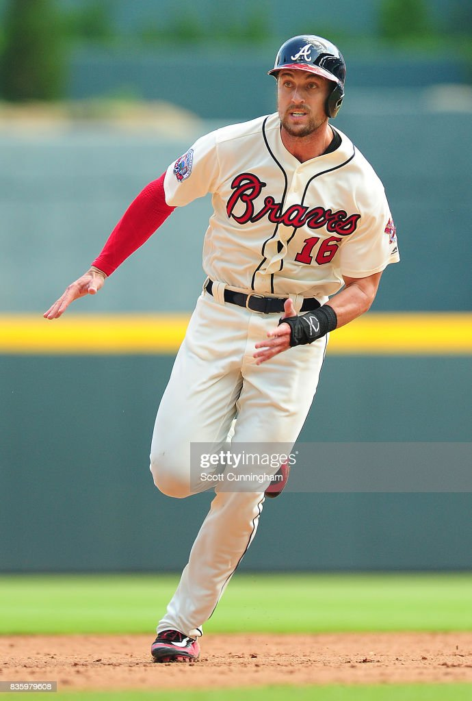 Lane Adams #16 of the Atlanta Braves rounds seond base during the fifth inning against the Cincinnati Reds at SunTrust Park on August 20, 2017 in Atlanta, Georgia.