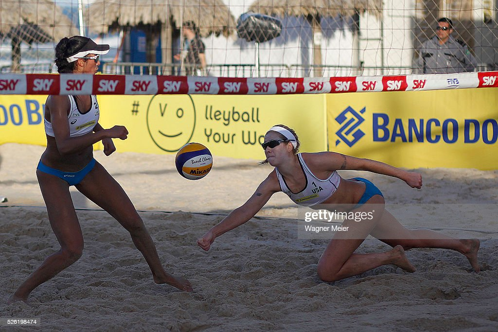 Lane Carico and Summer Ross of United States in action during main draw match against Brazil during the FIVB Fortaleza Open on Futuro Beach on April 29, 2016 in Fortaleza, Brazil.
