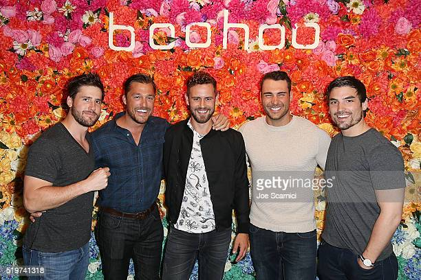 JJ Lane Chris Soules Nick Viall Ben Zorn and Jerod Haibon attend the boohoocom LA Pop Up Store on April 7 2016 in Los Angeles California